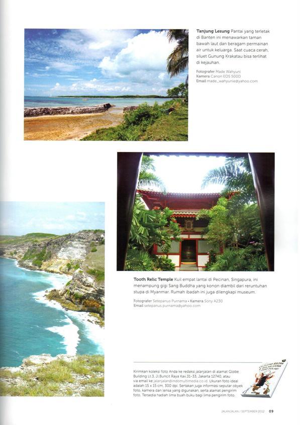 Foto Tanjung Lesung di Majalah Jalan-Jalan Edisi September 2012
